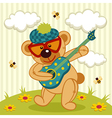 teddy bear play on a guitar vector image vector image