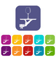 waiter hand holding tray with wine glass icons set vector image vector image
