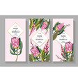 wedding invitation with leaves protea tropical vector image