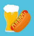 beer and hot dog flat cartoon vector image