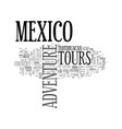 adventure tours mexico text word cloud concept vector image vector image