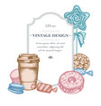 badge design with pastel macaron candies paper vector image