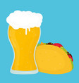 beer and taco flat cartoon vector image