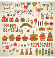 Birthday party design Cute hand drawn elements vector image vector image