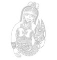 black and white line drawing of mermaid vector image