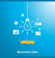 business idea with light bulb and dollar coin vector image