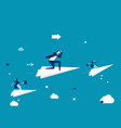 business team flying on paper plane and vector image vector image