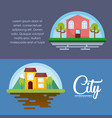 city and houses design vector image
