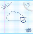 cloud and shield with check mark line sketch icon vector image vector image