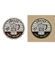 coffee shop round emblem with moka pot vector image vector image