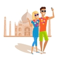 Couple Selfie on Summer Vacation in India vector image vector image