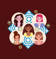 diversity women smiling female faces different vector image vector image