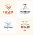 farm meat cheese and poultry logos set abstract vector image