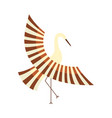 flat cartoon japan crane flapping wings vector image vector image