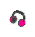 Flat stylized headphones headset icon vector image