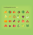 fruit and vegetables icons set flat vector image vector image