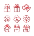 Gift boxes with bows linear icons set vector image