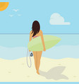 girl surf vector image