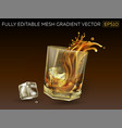 glass with a splash whiskey and ice cubes vector image vector image