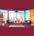 hotel suite in skyscraper cartoon interior vector image vector image