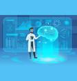 human brain futuristic medical hologram with vector image