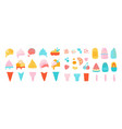 ice cream elements waffle cons with sundae vector image
