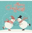 Ice skating cartoon snowmen vector image