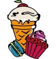 Icecream cupcake makaroni set vector image