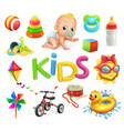 kids and toys children playground 3d icons set vector image vector image