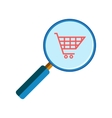 Magnifying glass with shopping cart vector image