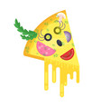 piece of pizza cheerful character vector image vector image