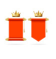 realistic detailed 3d golden crown and red scroll vector image vector image