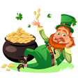 saint patrick day characters leprechaun with red vector image
