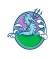 seahorse with trident mascot oval vector image
