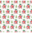 seamless pattern with cute penguins and candy cane vector image