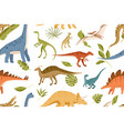seamless pattern with dinos and leaves on white vector image