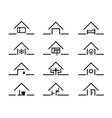 set of house silhouette in different settings vector image vector image