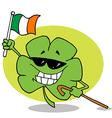 Shamrock Carrying A Cane And Waving An Irish Flag vector image vector image