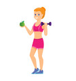 sport women with green apple vector image