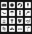 summer rest icons set squares vector image vector image