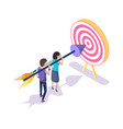 target and workers aiming in bullseye 3d isometric vector image vector image