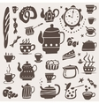 Tea cups doodles set vector image