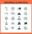 travel icons set with sea carry wagon flag and vector image