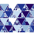 Triangle blue pattern with classic mosaic tile art vector image vector image