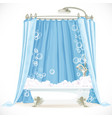 Vintage claw-foot bathtub and a curtain on the vector image vector image