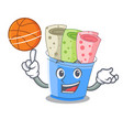 with basketball rolled ice creams in cartoon cups vector image vector image