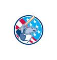 Wolf Baseball With Bat USA Stars Circle Retro vector image vector image