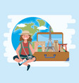 woman wearing hat and sitting with backpack and vector image vector image