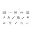writing concept line style icons set vector image