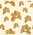 yellow orchid phalaenopsis floral seamless pattern vector image vector image